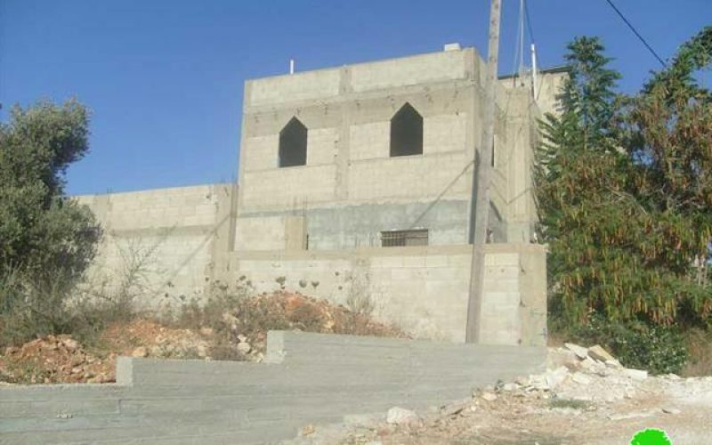 """Under the pretext of building in zone C <br> """"Halt of construction orders against 17 Palestinian houses and barracks in Salim village """""""