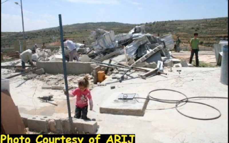 The Israeli Occupation Army demolished Three Houses and a Farm in Bethlehem and Salfit Governorates