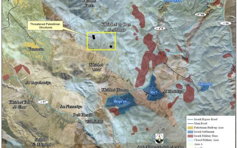 """Force Displacement in the Jordan Valley"" <br> Israeli Military Orders to evacuate Five Families in Khirbet Al Ras Al- Ahmar East of Tubas Governorate"