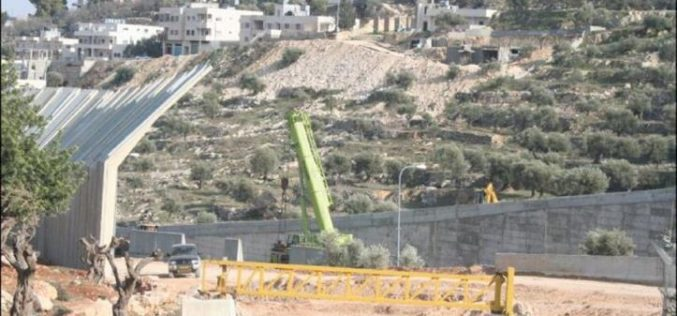 السلطات الاسرائيلية تستكمل بناء الجدار على أراضي مدينة بيت جالا
