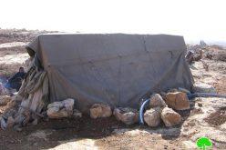 هدم خيام وتدمير آبار مياه لعائلة الجبور في سوسيا جنوب يطا