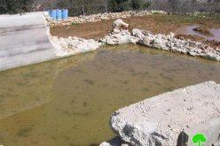 الاحتلال يهدم برك مياه زراعية في واد الغروس شرق الخليل