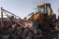 """الاحتلال يهدم خربة""""أم نير"""" في محافظة الخليل  للمرة الثانية في اقل من شهر"""