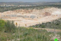 """أعمال توسعة واسعة النطاق في مستوطنة """"الكانا"""" غرب قرية مسحة في محافظة سلفيت"""