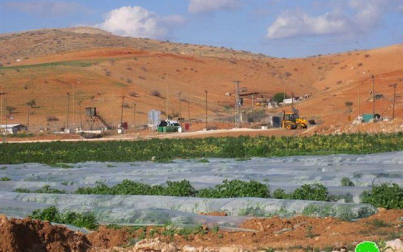 هدم بركس وغرفة زراعية وتدمير خط لنقل المياه فيمنطقة الحمرا – محافظة  أريحا