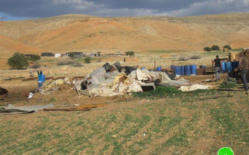 هدم 3 من حظائر الماشية في خربة حمصة – محافظة طوباس