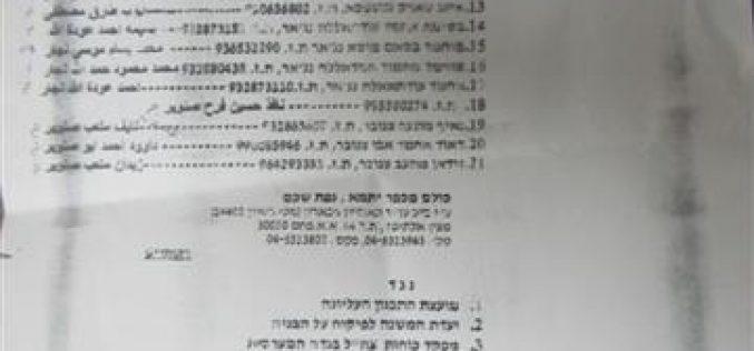 الاحتلال الإسرائيلي يقرر هدم 21 منزلاً و تشريد 29 أسرة في قرية يتما