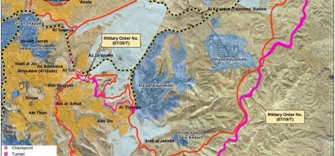« Israël étend la confiscation de 38,6 hectares » <br> L'ordre de confiscation de terres pour la construction de la route « Fabric of Life », Sud-est de Jérusalem