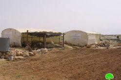 إخطارات بوقف العمل في خيام زراعية في خربة سوسيا
