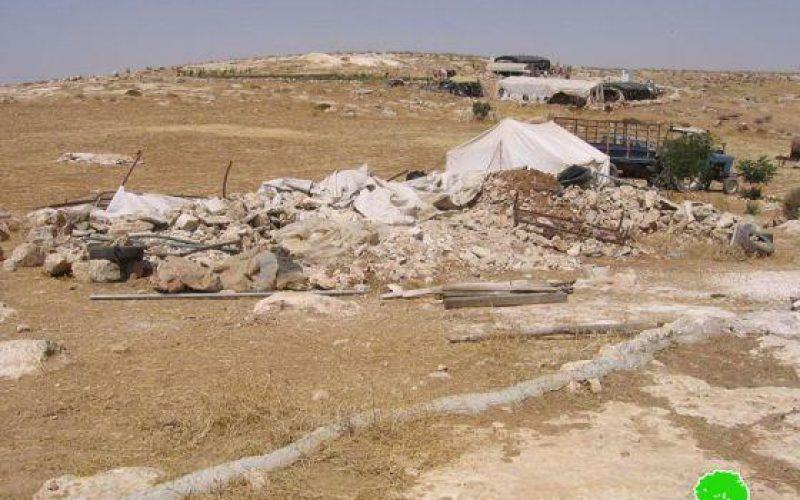 هدم خيمة سكنية في وادي جحيش جنوب يطا