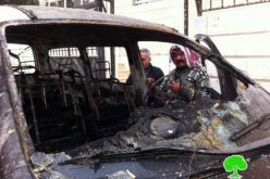 SIsraeli settlers set two cars ablaze and wrote offensive slogans on houses walls in Deir Jarir village
