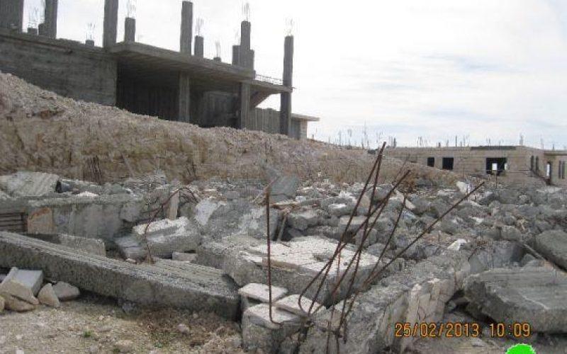 Demolition of an under-construction Residence in Al Khas village – Bethlehem