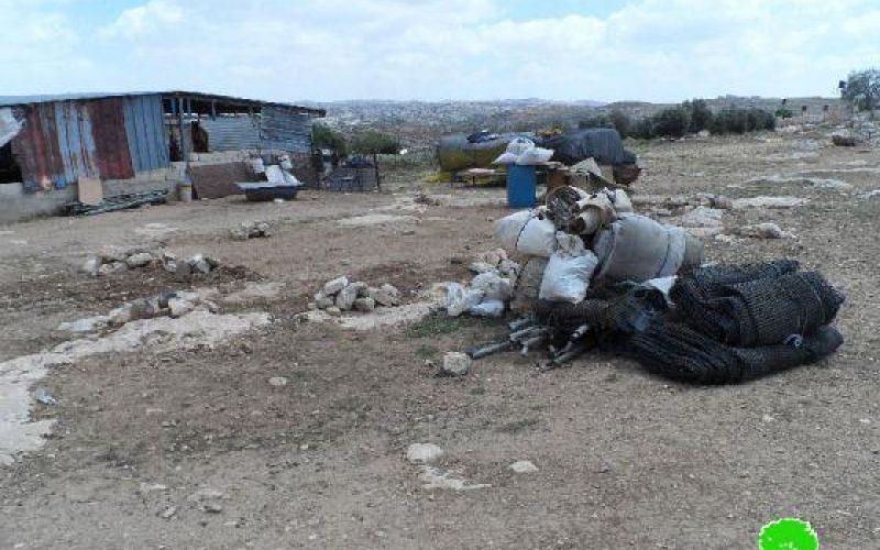 Demolition of a Residential Tent in Khallit al Mafateeh – As Samu' – Hebron.