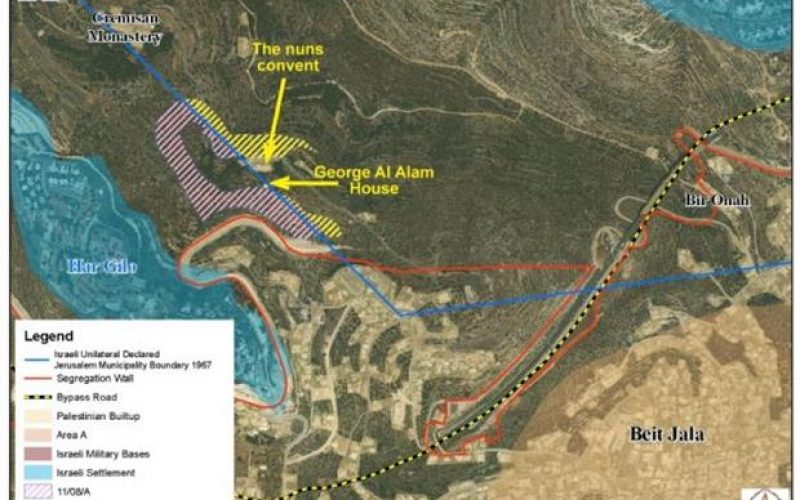 """Balancing Israel's security needs on the expense of Palestinians lands""  <br> Israel rules to construct the wall on Lands of Cremisan in Beit Jala city"