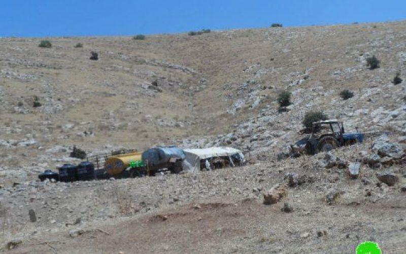 Notifying  Bedouin Families of Having to Stop Building in Al-Farisiyya