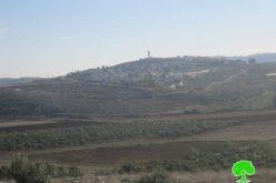 إخطار بوضع اليد على 877  دونماً  وذلك لأهداف عسكرية في قرى عورتا وبيت فوريك وروجيب