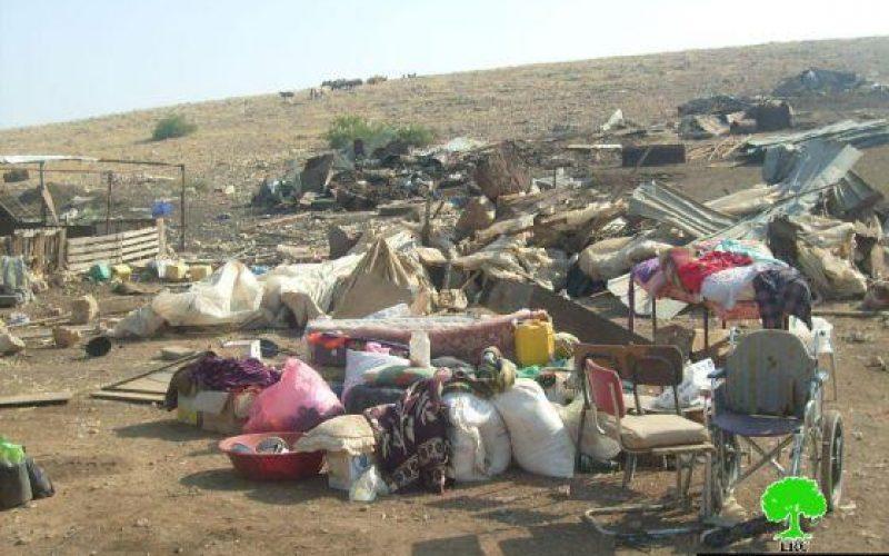 هدم 9  بركسات زراعية وسكنية  في منطقة الديوك الفوقا / محافظة أريحا