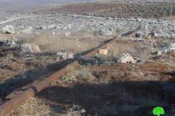 إخطار  بوقف البناء لحاووز المياه في خربة يرزا  /محافظة طوباس
