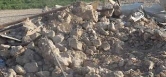 هدم 9 منشآت سكنية وزراعية في خربة حمصة / محافظة طوباس