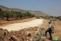 The Israeli occupation closes off an agricultural road in Ramallah