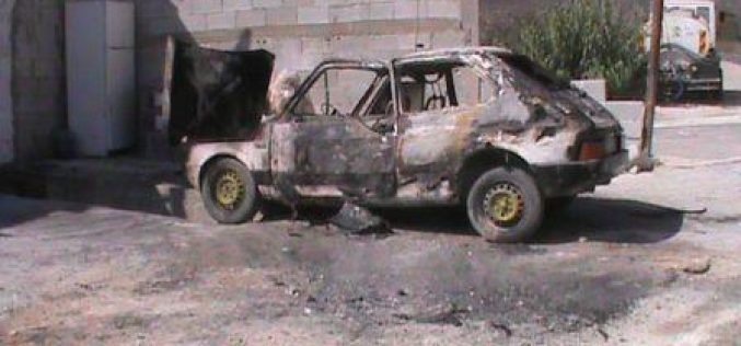 Burning a vehicle in Burin- Nablus