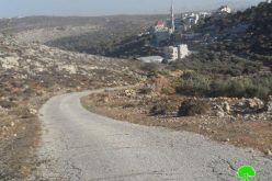 The Israeli occupation closes the entrance of Burqa village in Ramallah