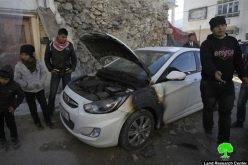 حرق سيارتين في قرية مادما / محافظة نابلس