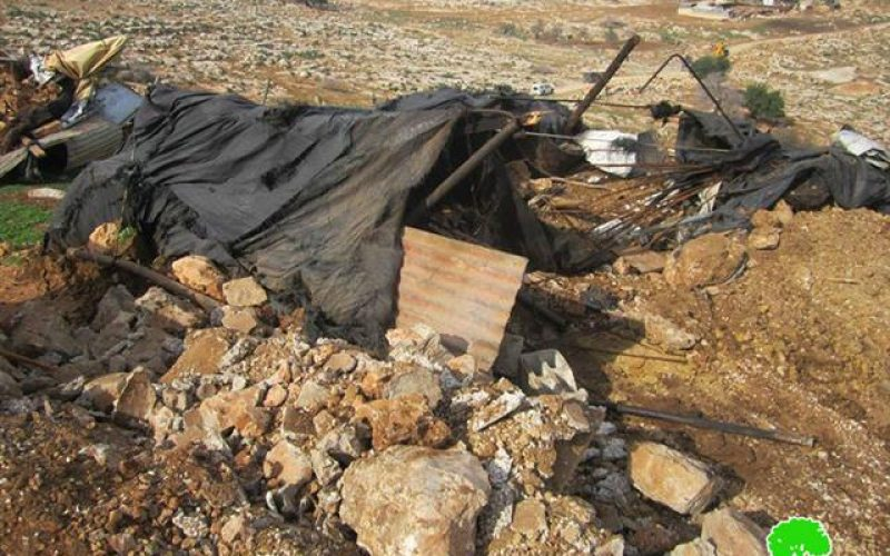 The Israeli occupation demolishes barns in Ramallah