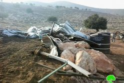 The Israeli occupation demolishes a number of agricultural structures and confiscates tools