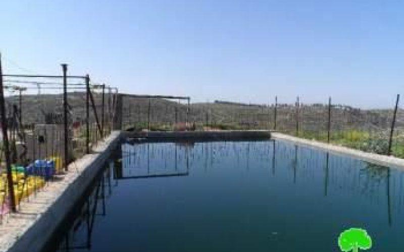 الاحتلال يهدد بهدم بركة مياه في وادي المغير جنوب مدينة الخليل