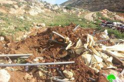 هجمة عدوانية استهدفت 12 منشأة سكنية وزراعية في خربة جعوانة شرقي بيت فوريك