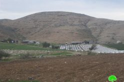 إخطار 3 عائلات في خربة الحديدية بوقف البناء لمنشآتهم الزراعية