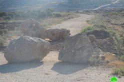 Roads blocked by rocks in Jourish Village