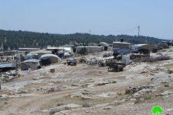 الاحتلال يهدد بتدمير خربة غوين جنوب السموع  في محافظة الخليل