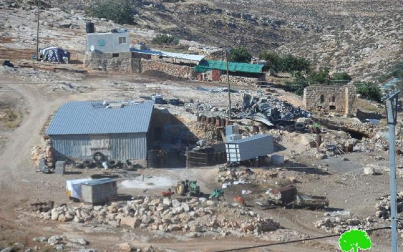 Three tents confiscated by the Israeli occupation in Aqraba town in Nablus Governorate
