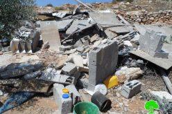 الاحتلال يهدم غرفتين زراعيتين في جبل السنداس جنوب الخليل