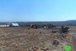 هدم عدداً من الخيام وحظائر الماشية في منطقتي  البقعة والطيبة / محافظة رام الله