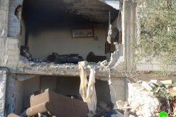 هدم ثلاث غرف سكنية في قرية العقبة / محافظة طوباس