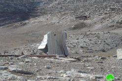 هدم مساكن وحظائر أغنام في خربة الرهوة جنوب بلدة الظاهرية / محافظة الخليل