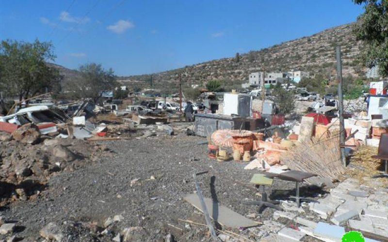 Demolishing industrial workshop and a carwash in al-Lubban al-Sharki