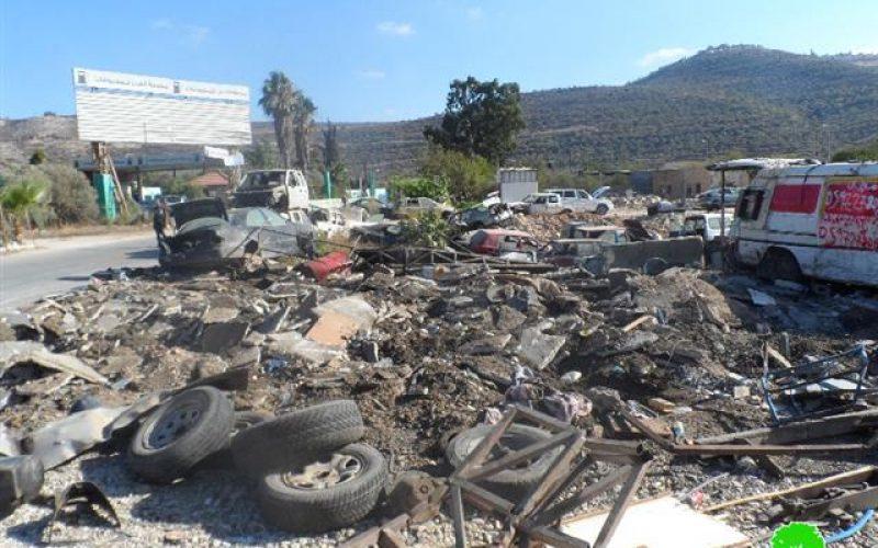 هدم ورش صناعية ومغسلة للسيارات في قرية اللبن الشرقي