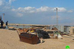 الاحتلال الإسرائيلي يهدم غرف سكنية في تجمع المليحات البدوي في قرية العوجا / محافظة أريحا