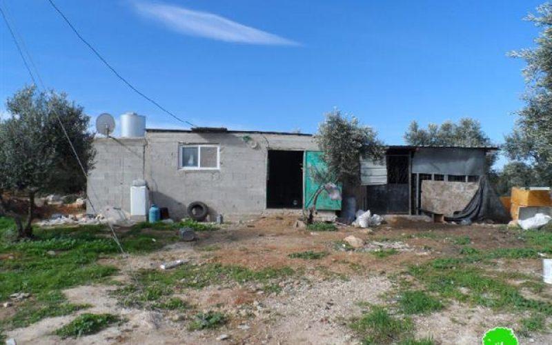 Stop-work orders on six residences in the Palestinian village of al- Kum