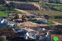 The Israeli occupation demolishes a agricultural barrack and a dairy workshop in Dura village