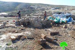 الاحتلال يهدم خيام زراعية في المفقرة شرق يطا