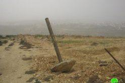 تجريف أرض زراعية بمساحة 3 دونمات وتدمير السياج المحيط بها في بلدة الخضر / محافظة بيت لحم