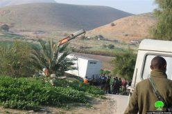 هدم عدداً من البركسات والخيام في قرية الجفتلك / محافظة أريحا