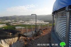 إخطار بوقف البناء للحاووز المائي في قرية فروش بيت دجن / محافظة أريحا