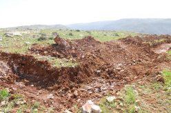 تجريف اراضي في قرية كيسان في محافظة بيت لحم