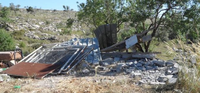 Demolition of two agricultural barracks in the Nablus village of Rujeib